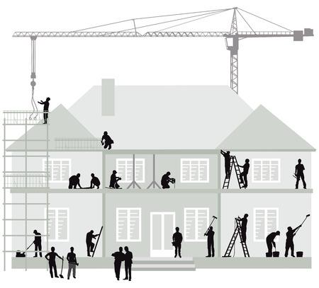 Plac budowy z robotnikami budowlanymi, koparką i dźwigiem