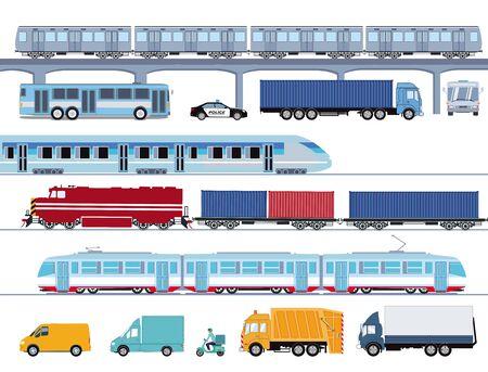 Ilustración de transporte público de autobuses