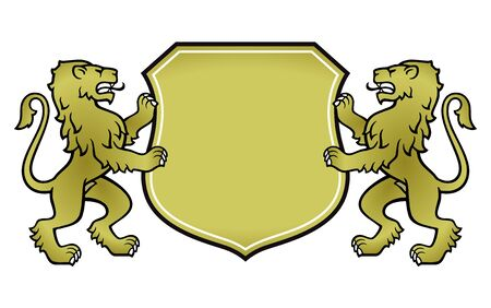 Heraldic coat of arms with two lions, vector illustration