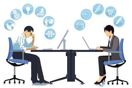 Business team at a meeting - illustration