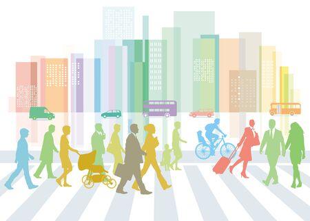 City with traffic and pedestrians on the sidewalk Standard-Bild - 128805103
