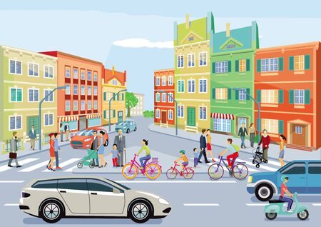 Small town with traffic and pedestrians Illustration