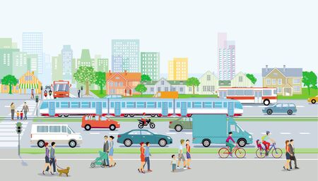 City with traffic and pedestrians on the sidewalk Standard-Bild - 128805151