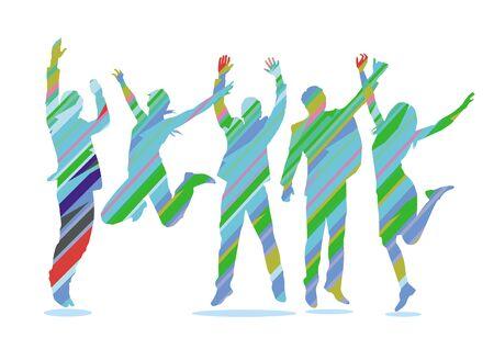 Group of business people celebrates - illustration
