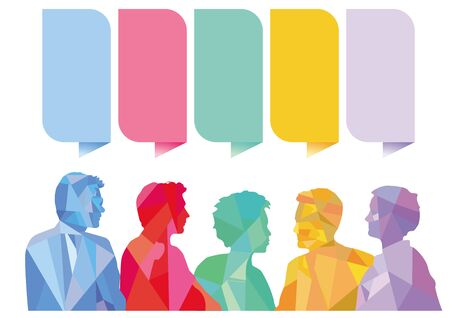 Question and Answer Speech bubbles with group of people, illustration