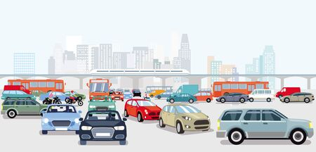 Cars in traffic jam at the intersection  イラスト・ベクター素材
