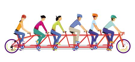 Six people ride together