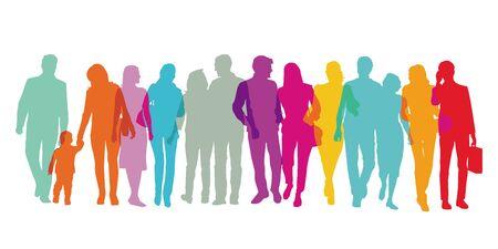 Bunte Gruppe von Menschen steht zusammen Vektorgrafik