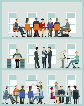 Geschäftsteam bei der Zusammenarbeit - Illustration