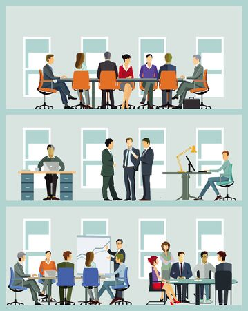 Zespół biznesowy przy współpracy - ilustracja