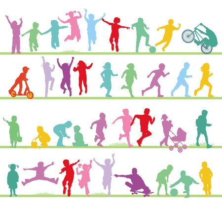Happy children on a playground in the summer Illustration