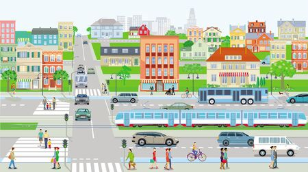 Road traffic with pedestrians and cars on urban street Ilustracja
