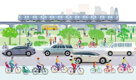 Cityscape with cyclists and road traffic