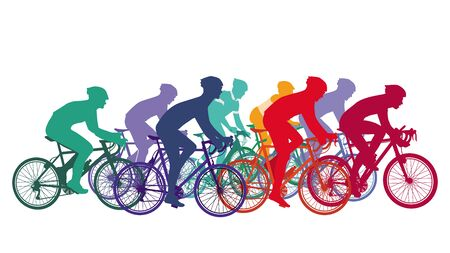 Cycling, people on racing bikes, group of cyclists