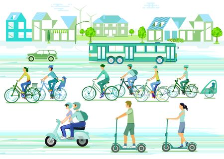 City silhouette with cyclists and electric scooter