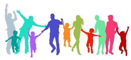 Families with children, parents and friends are having fun Çizim