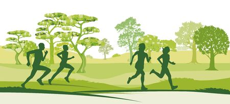 Running people doing sports Vector Illustration