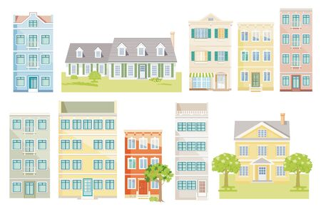 A group of different houses, vector, cut out - neutral background,