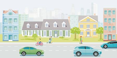 Quiet street with family houses with people and cars Ilustração