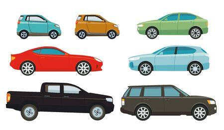 Cars, sedans and SUVs, illustration