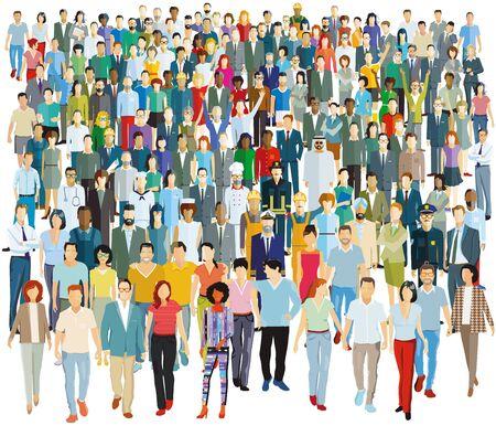 Gran grupo de personas - ilustración vectorial