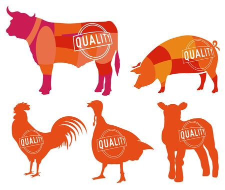 Farm animals symbols, collection, butcher shop, steak house. - vector illustration Ilustracja