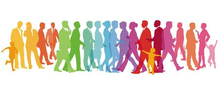 Colorful large group of people - vector illustration