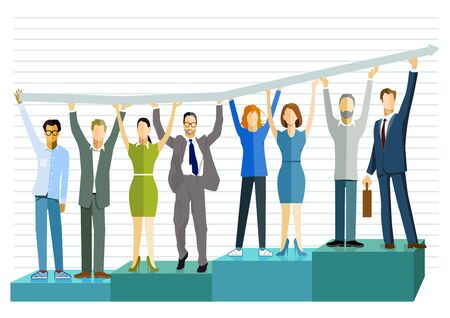 Successful business balance sheet, graph