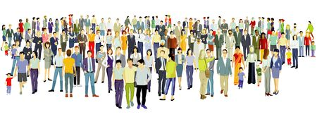 Large group of people on white background. ? Vector illustration