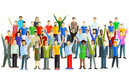 Cheerful group of people in the community - vector illustration