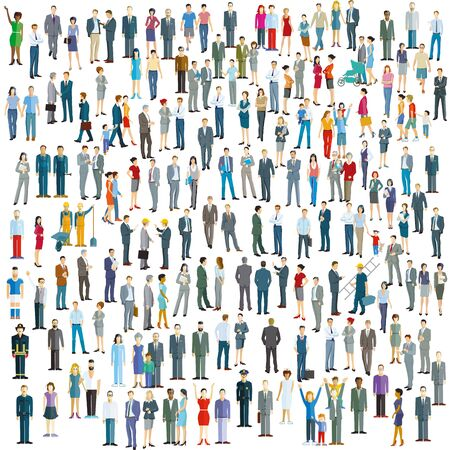 Große Menschenmenge auf weißem Hintergrund. Vektor-Illustration Vektorgrafik
