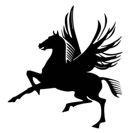 Pegasus silhouette mythological winged horse - vector illustration