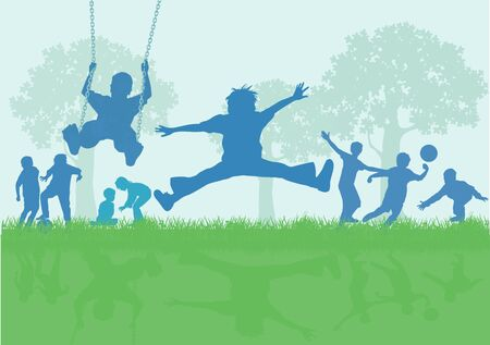 A group of children play and have fun, illustration