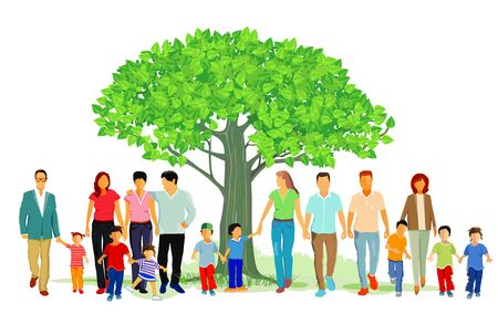 Cheerful families group in nature, illustration