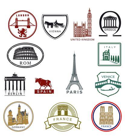 Europe landmarks, travel destinations coat of arms