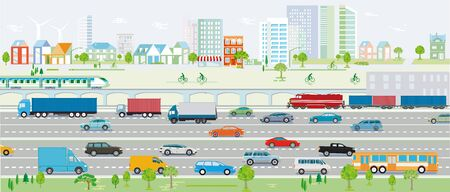 Motorway, traffic with cars and railroad vector illustration
