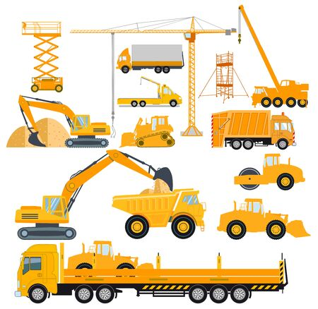 Set of construction machinery with excavators and heavy trucks 일러스트