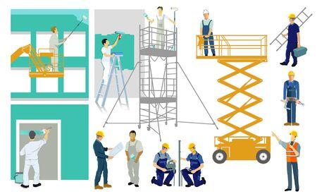 Painters and artisans on construction site. set - illustration