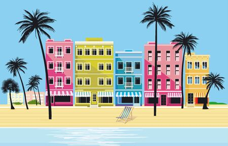 City in the tropics - vector illustration Banque d'images - 148314406