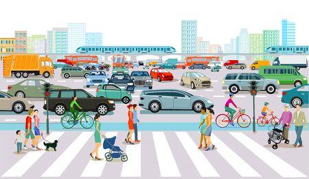 Rushhour-Verkehr in der Großstadt Vektorgrafik