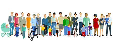 Happy families with children, parents and grandparents Vetores