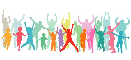 Cheerful parents cheer with children and have fun