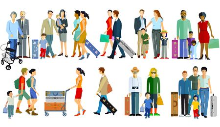 Different travelers with luggage - vector illustration 向量圖像