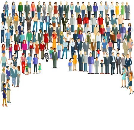 Groups and crowds on a place Ilustración de vector