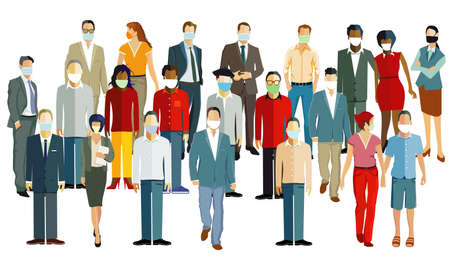 Different people with protective masks to protect the virus infection in the air. Corona virus - vector illustration