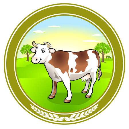 Dairy cow emblem sticker. Vector illustration.