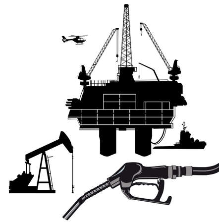 Oil production with oil rig and oil pump