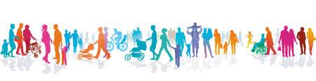 Crowd on the sidewalk, vector illustration