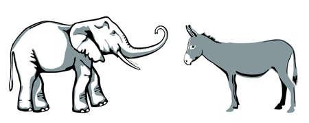 Elephant donkey, party symbols of Republicans and Democrats