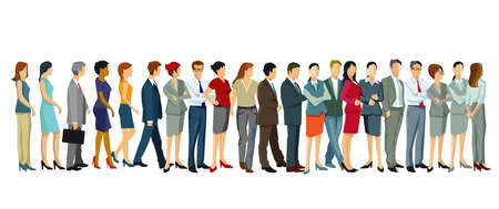 People Standing In A Row - Vector Illustration